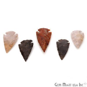 5pc Lot Arrowhead Cut Gemstones, 40x25mm Handcrafted Stone, Loose Gemstone, DIY Pendant, DIY Jewelry - GemMartUSA