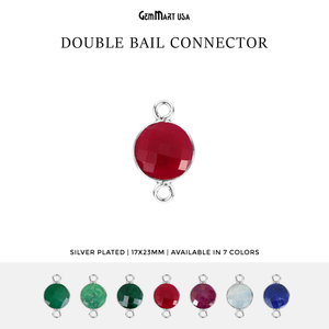 Round 16mm Double Bail Silver Bezel Gemstone Connector