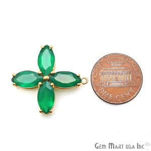 Green Onyx 27x25mm Flower Shape Gold Prong Setting Gemstone Connector - GemMartUSA