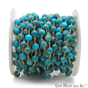 Neon Apatite Smooth Beads 8mm Gold Plated Wire Wrapped Gemstone Rosary Chain - GemMartUSA