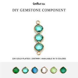 DIY Gemstone 29x7mm Gold Plated Finding Component