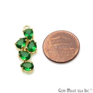 DIY Gemstone Pear Shape 28x12mm Gold Plated Prong Setting Connector 1PC (Pick Stone) - GemMartUSA