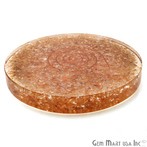 Citrine Healing Stone Plate , Citrine Meditation Stone, Home Decor 110MM - GemMartUSA