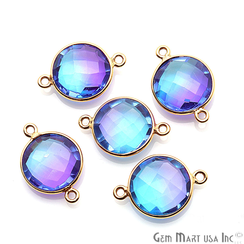 Aura Quartz 12mm Round Shape Doublet Quartz Gemstone Connector (Pick Your Color, Plating, Bail)