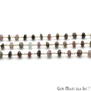 Multi Tourmaline 7-8mm Gold Plated Wire Wrapped Rondelle Rosary Chain - GemMartUSA