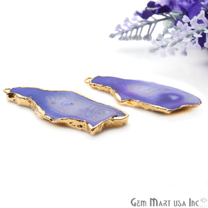 Agate Slice 47x18mm Organic Gold Electroplated Gemstone Earring Connector 1 Pair - GemMartUSA