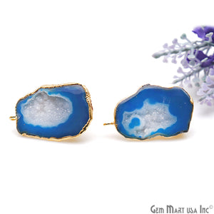 DIY Agate Slice Geode Druzy 24x35mm Gold Electroplated Loop Connector Studs Earrings - GemMartUSA