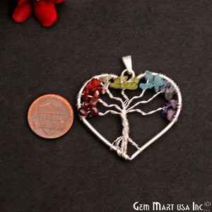 Multi Color Tree Of Life 43x39mm Silver Wire Wrapped Heart Shape Pendant - GemMartUSA