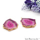 Agate Slice 44x31mm Organic  Gold Electroplated Gemstone Earring Connector 1 Pair - GemMartUSA