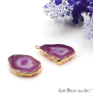 Agate Slice 26x16mm Organic  Gold Electroplated Gemstone Earring Connector 1 Pair - GemMartUSA