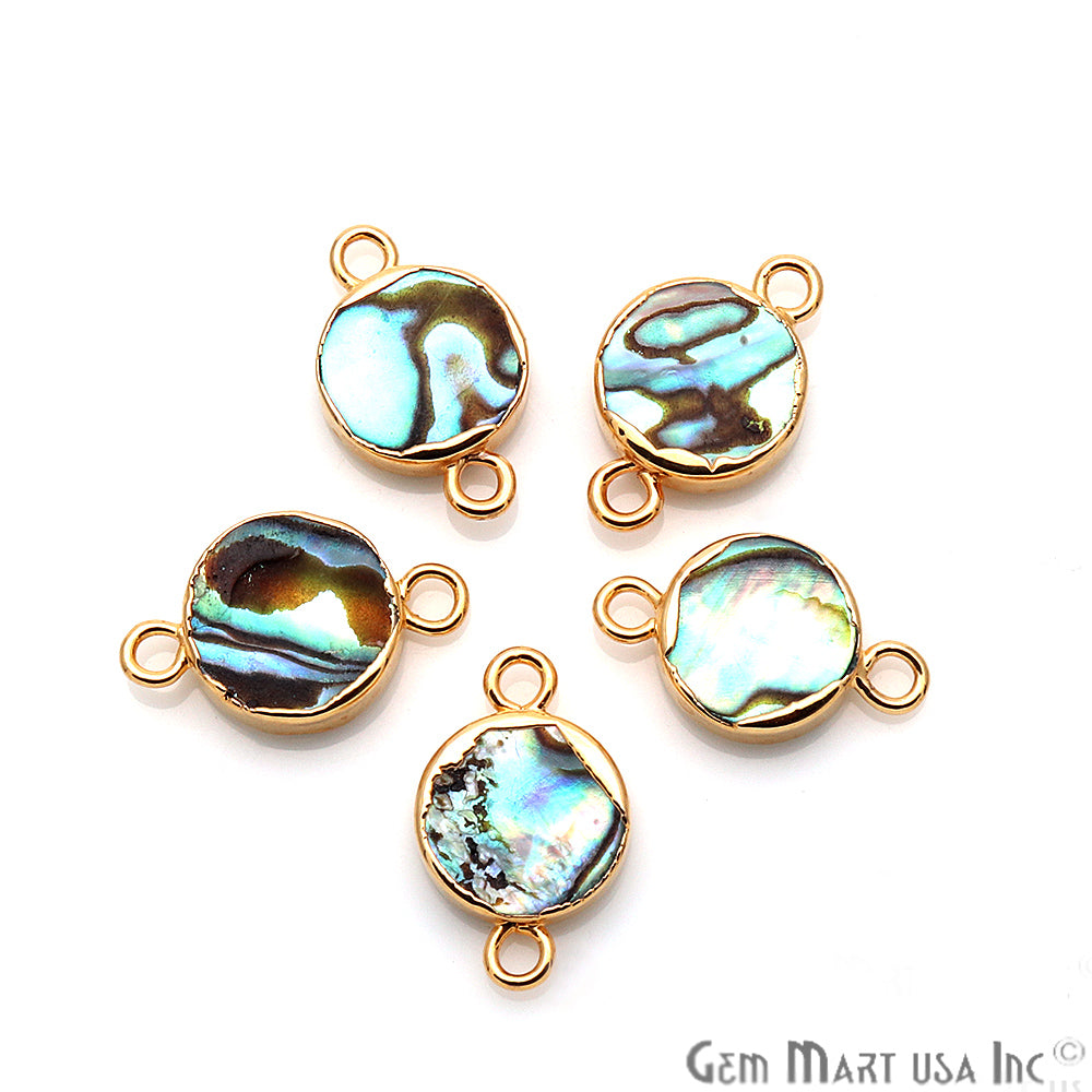 Abalone Shell Round Shape Gold Electroplated Double Bail 10mm Gemstone Connector