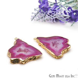 Agate Slice 46x28mm Organic  Gold Electroplated Gemstone Earring Connector 1 Pair - GemMartUSA