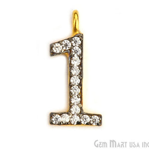 '1' Numbering CZ Pave Gold Vermeil Charm for Bracelet & Pendants