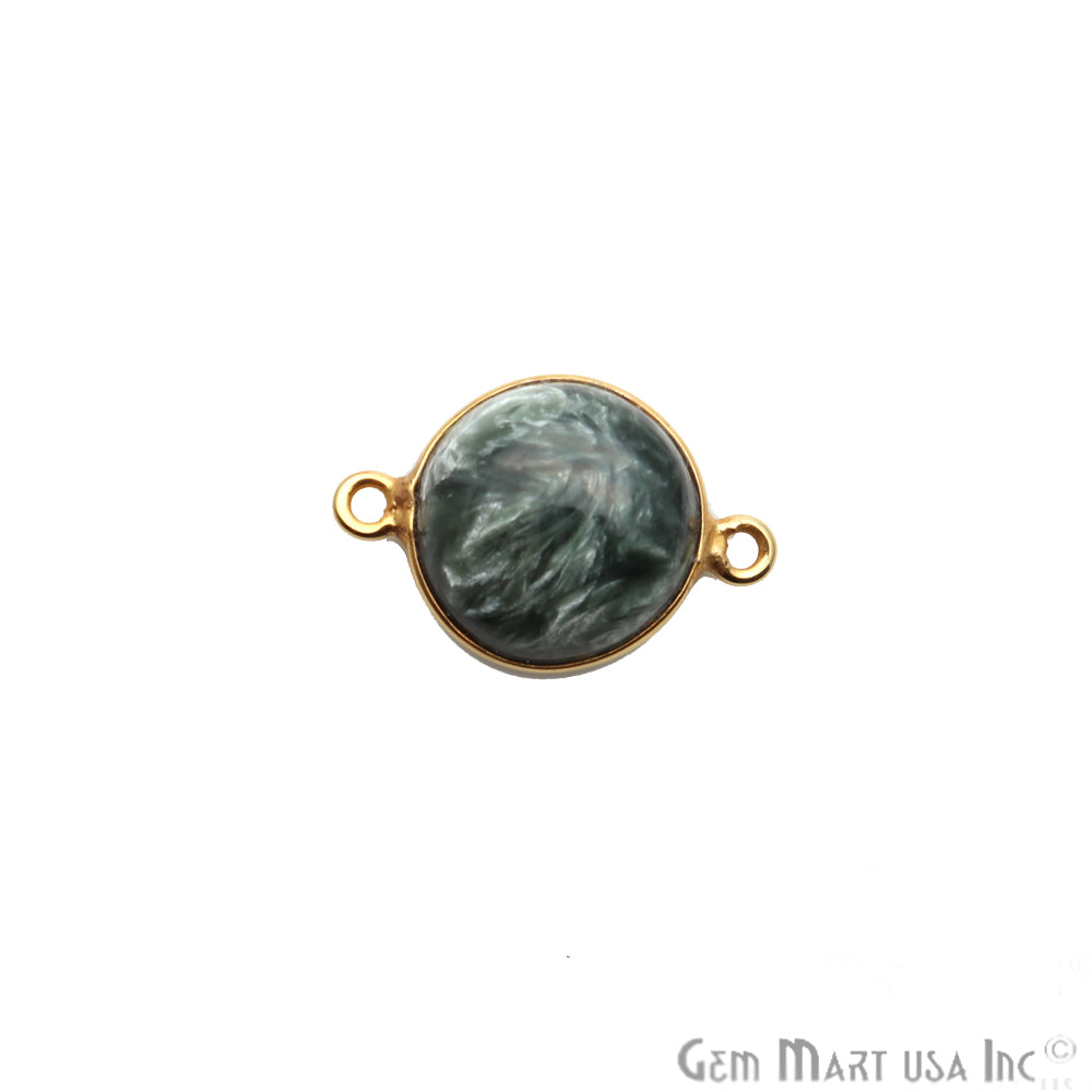 Gray Larimar Cabochon Gemstone 19x13mm Gold Plated Connector
