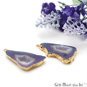 Agate Slice 32x18mm Organic Gold Electroplated Gemstone Earring Connector 1 Pair - GemMartUSA