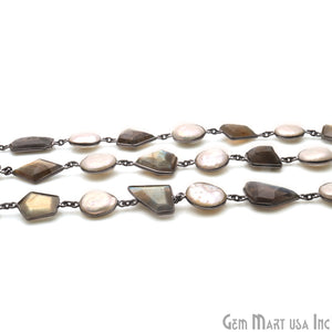 Labradorite And Pearl Oxidized Bezel Gemstone Connector Chain