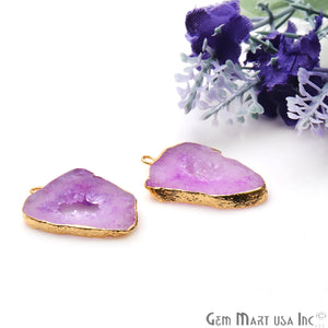Agate Slice 20x27mm Organic Gold Electroplated Gemstone Earring Connector 1 Pair - GemMartUSA