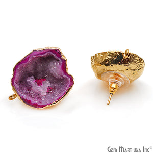 DIY Agate Slice Geode Druzy 23x27mm Gold Electroplated Loop Connector Studs Earrings - GemMartUSA