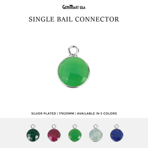 Round 16mm Single Bail Silver Bezel Gemstone Connector (Pick Your Gemstone & Lot Size)
