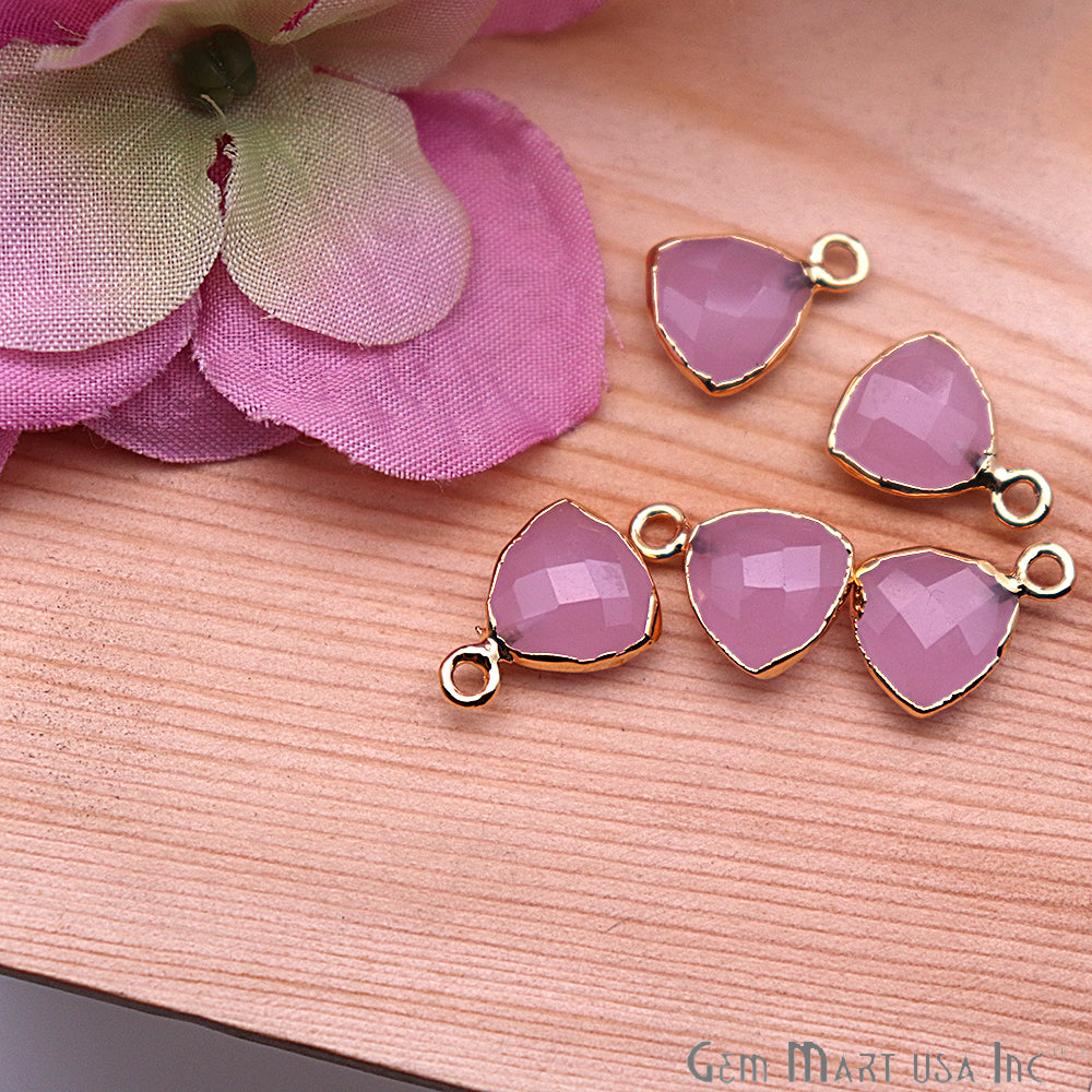 Rose Chalcedony 10mm Trillion Gold Electroplated Single Bail Gemstone Connector