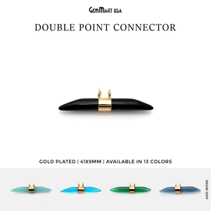 Double Point 41x9mm Gold Plated Gemstone Connector
