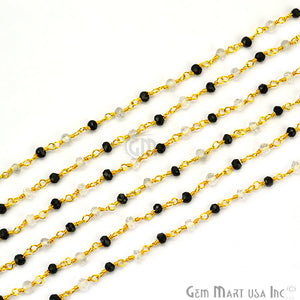 Black Spinel With Crystal Gold Plated Wire Wrapped Beads Rosary Chain