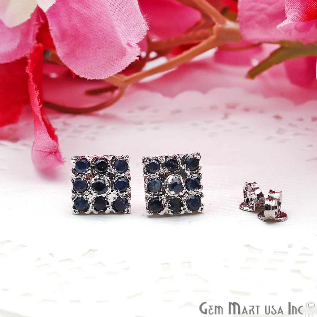 Black Sapphire 10mm Sterling Silver Square Shape Stud Earring