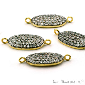 'Oval' CZ Pave Gold Vermeil Charm for Bracelet & Pendants