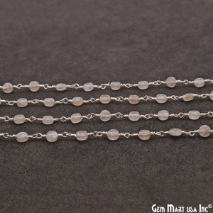 Labradorite Faceted 3-4mm Silver Wire Wrapped Rosary Chain - GemMartUSA