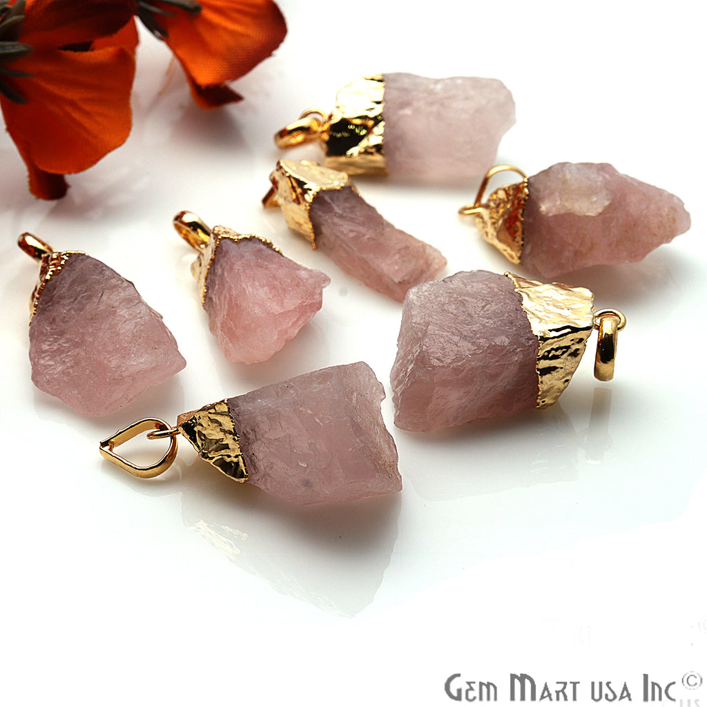 DIY Rough Rose Quartz Gemstone 31x18mm Gold Edge Necklace Pendant