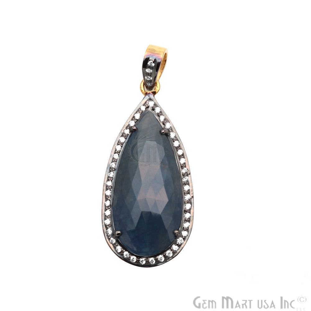 Blue Sapphire With Cubic Zircon Pears 35x16mm Gold Vermeil Necklace Pendant