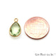 Gemstone Pears 8x12mm Gold Plated Design Bezel Connector (Pick Stone)