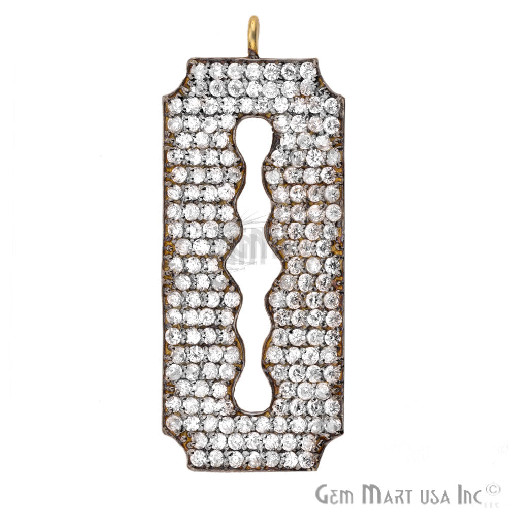 Cubic Zircon Pave 'Blade' Gold Vermeil Charm for Bracelet Pendants & Necklace