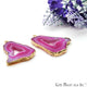 Agate Slice 37x28mm Organic Gold Electroplated Gemstone Earring Connector 1 Pair - GemMartUSA