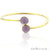 Round 10mm Adjustable Gold Plated Bangle Bracelet (Choose Gemstone) - GemMartUSA