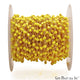 Yellow Agate Cube Faceted 2mm Gold Wire Wrapped Rosary Chain - GemMartUSA