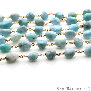 Amazonite Rondelle Beads Gold Plated Wire Wrapped Rosary Chain