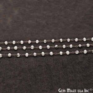 Rutilated Jade Faceted Beads 4mm Oxidized Plated Wire Wrapped Rosary Chain - GemMartUSA