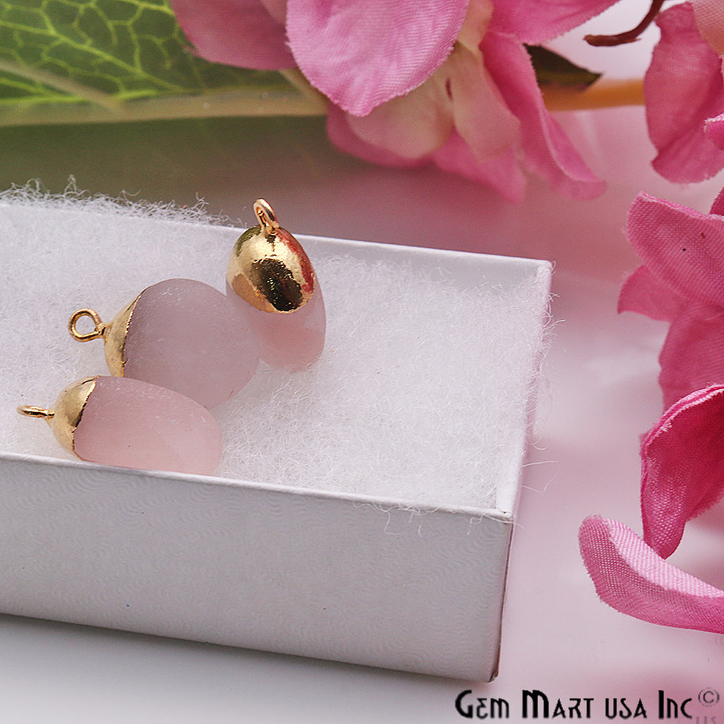 Rose Quartz Gemstone Frosted Matte Bead 20x13mm Gold Edged Single Bail Connector