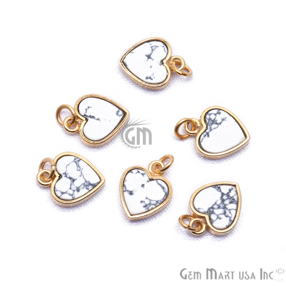 DIY Howlite Heart 12mm Gold Plated Gemstone Pendant
