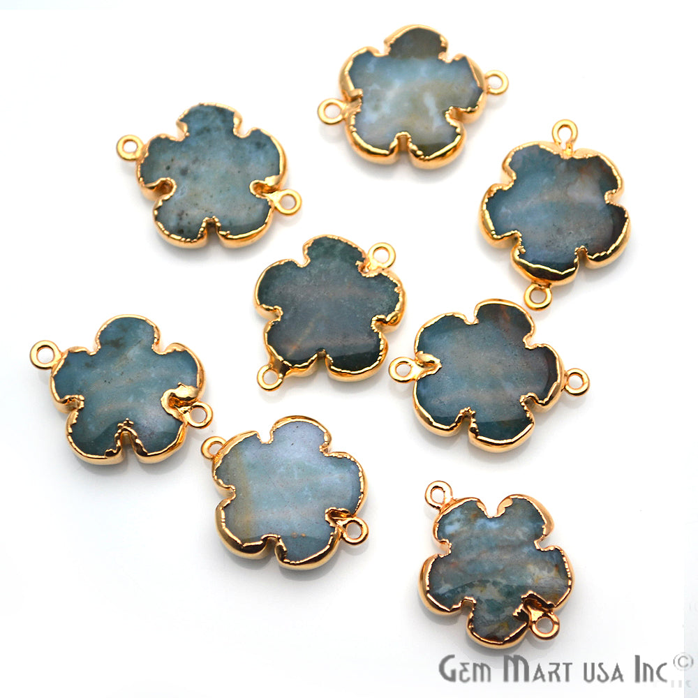 Flower Shape Gemstone Gold Edged Connector Charm (Pick Your Gemstone, Bail) (50081-50082)