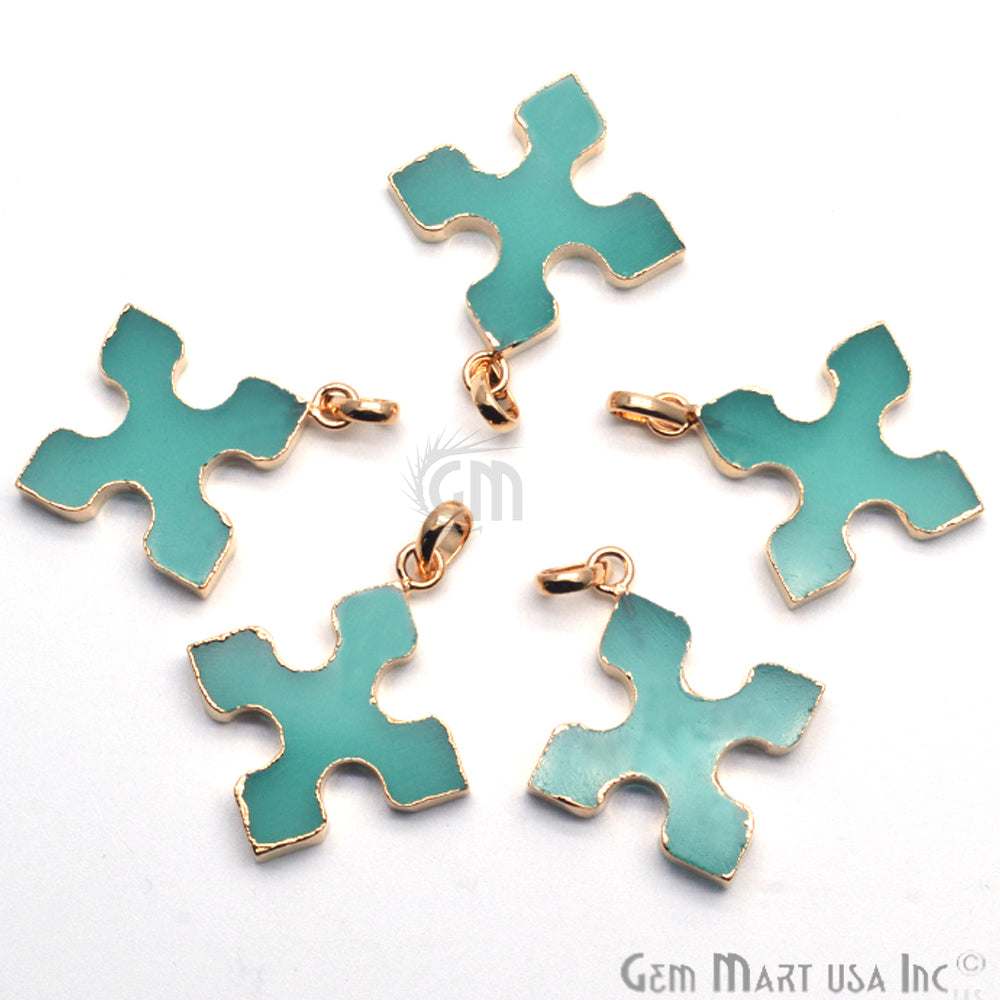 Gold Plated Gemstone 36x32mm Medieval Cross Shape Pendant (50023)