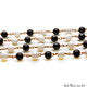 Black Spinel & White Agate Cabochon Beads 6mm Gold Wire Wrapped Rosary Chain - GemMartUSA