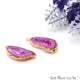 Agate Slice 24x30mm Organic Gold Electroplated Gemstone Earring Connector 1 Pair - GemMartUSA