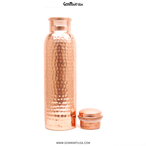 100% Pure Copper Water Bottle, 34 Oz Hand Forged Copper Bottle, Hammered Copper Bottle, Healthy Living