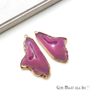 Agate Slice 26x51mm Organic  Gold Electroplated Gemstone Earring Connector 1 Pair