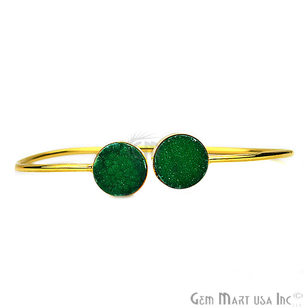 Double Druzy Gemstone Gold Plated Adjustable Bangle Bracelets (Pick Color)