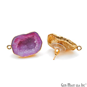 DIY Agate Slice Geode Druzy 18x27mm Gold Electroplated Loop Connector Studs Earrings - GemMartUSA