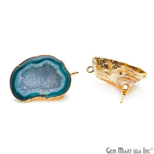 DIY Agate Slice Geode Druzy 33x20mm Gold Electroplated Loop Connector Studs Earrings