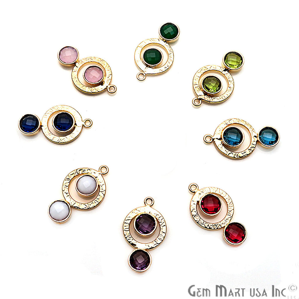 DIY Gemstone Gold Hoop Chandelier Finding Connector 1PC (Pick Your Gemstone)